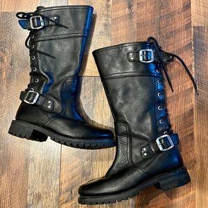 HARLEY-DAVIDSON Alexa Back Lace Leather Moto Boots